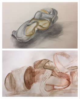 Shoes, 2017 - charcoal, pastel, watercolour